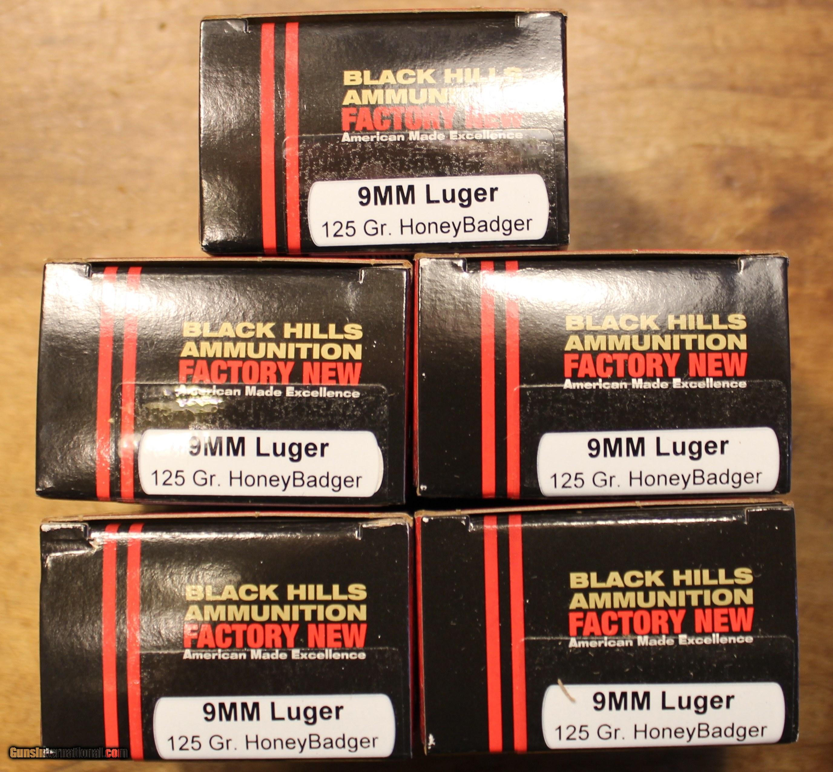 100 rounds of Black Hills 9mm Luger 125 Gr HoneyBadger