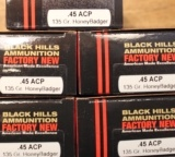 100 rounds of Black Hills 45 ACP 135 Gr HoneyBadger