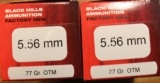100 rounds of Black Hills 5.56mm 77 Grain OTM Open Tip Match Rifle Ammunition