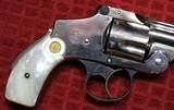 """Nickel Plated .38 S&W Safety Hammerless Fourth Model 3 1/4"""" 5 shot Revolver with Pearl S&W logo grips - 6 of 25"""