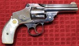 """Nickel Plated .38 S&W Safety Hammerless Fourth Model 3 1/4"""" 5 shot Revolver with Pearl S&W logo grips - 2 of 25"""