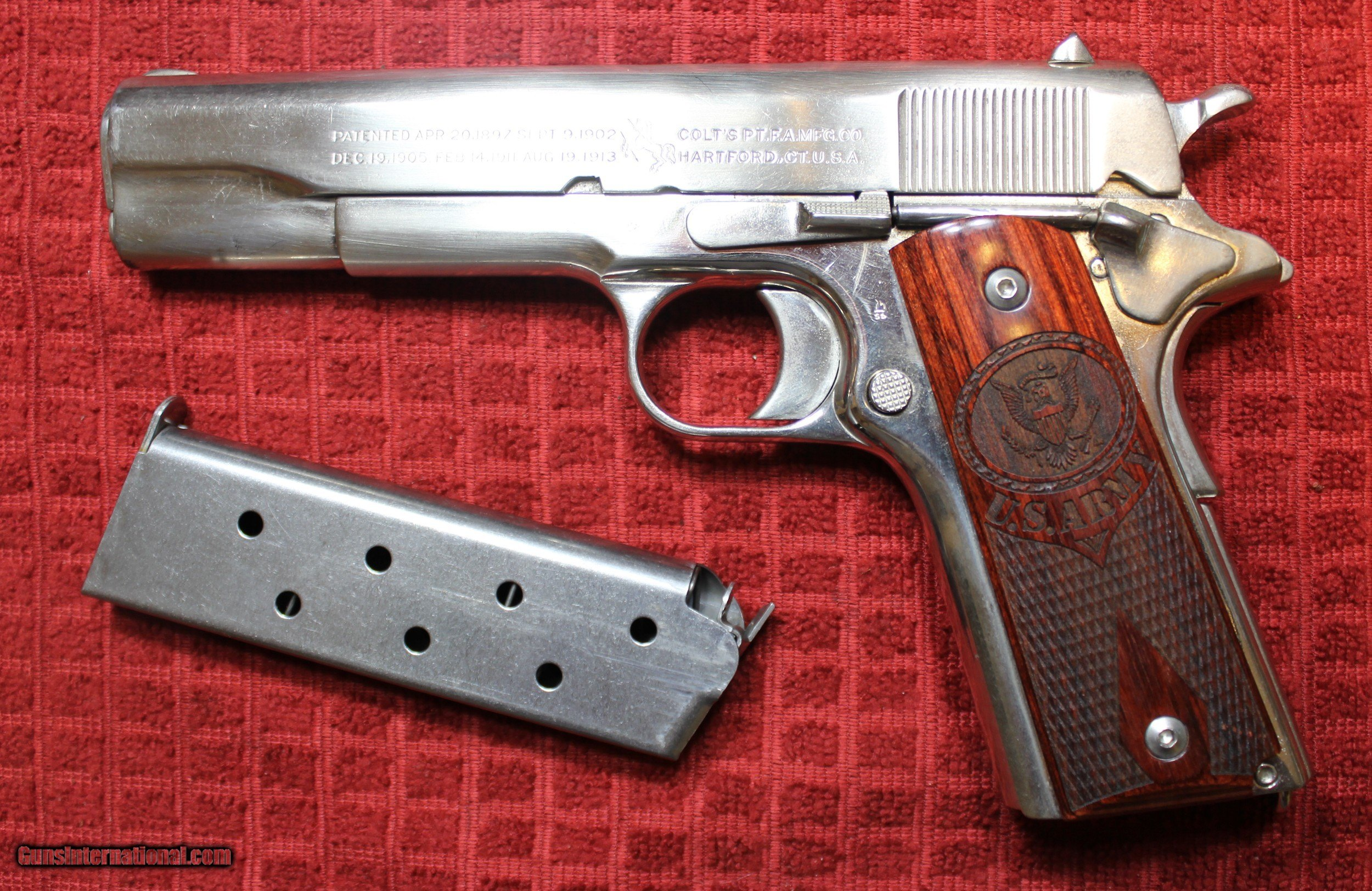 Colt 1911 45 ACP Nickel Plated 1918 ish with NON matching
