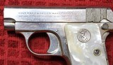 Colt 1908, Nickel with Factory Pearl Grips with Recessed Colt Medallions, Cal. .25 ACP - 7 of 25