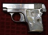 Colt 1908, Nickel with Factory Pearl Grips with Recessed Colt Medallions, Cal. .25 ACP - 1 of 25