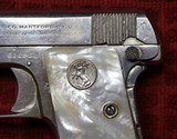 Colt 1908, Nickel with Factory Pearl Grips with Recessed Colt Medallions, Cal. .25 ACP - 8 of 25