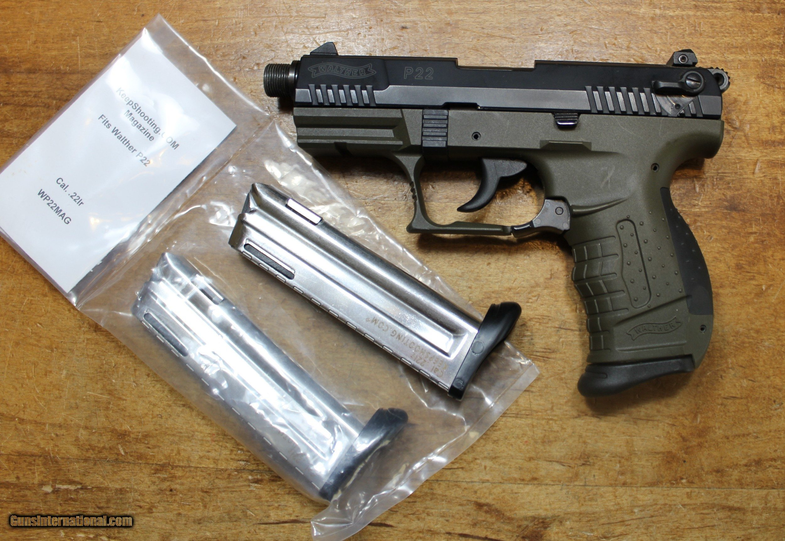 Walther P22 22LR with Threaded Barrel and 3 magazines for sale