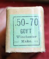 Vintage Winchester .50-70 Government Center Fire Cartridges Box of 20 - 8 of 25