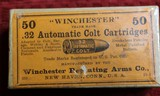 Winchester .32 Automatic Colt Cartridges 50 Round Box Vintage. Appears Unopened - 11 of 11