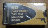 Century 7.63 MM Mauser Pistol 50 Cartridges in box. Appears Unopened.