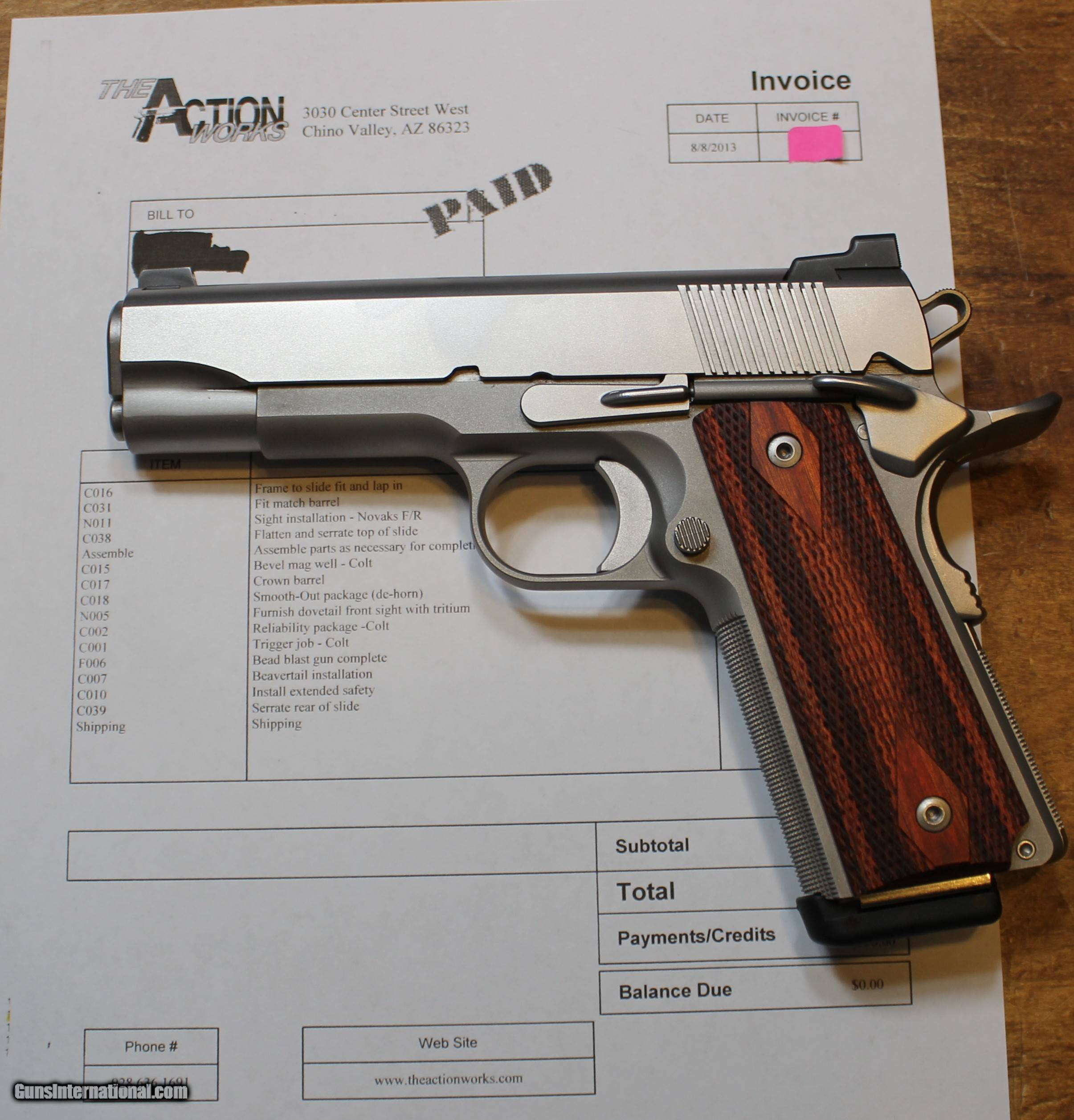 Action Works Custom 1911 Commander 45ACP Stainless by Don
