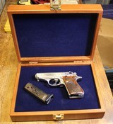 """Walther Arms PPK/S Engraved 380 ACP 3.35"""" 7+1 Wood Grips and Walnut Walther Display Case"""
