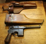 Mauser C96 BroomHandle Pistol Pre-War Commercial w Shoulder Stock and Leather Holster marked 1918