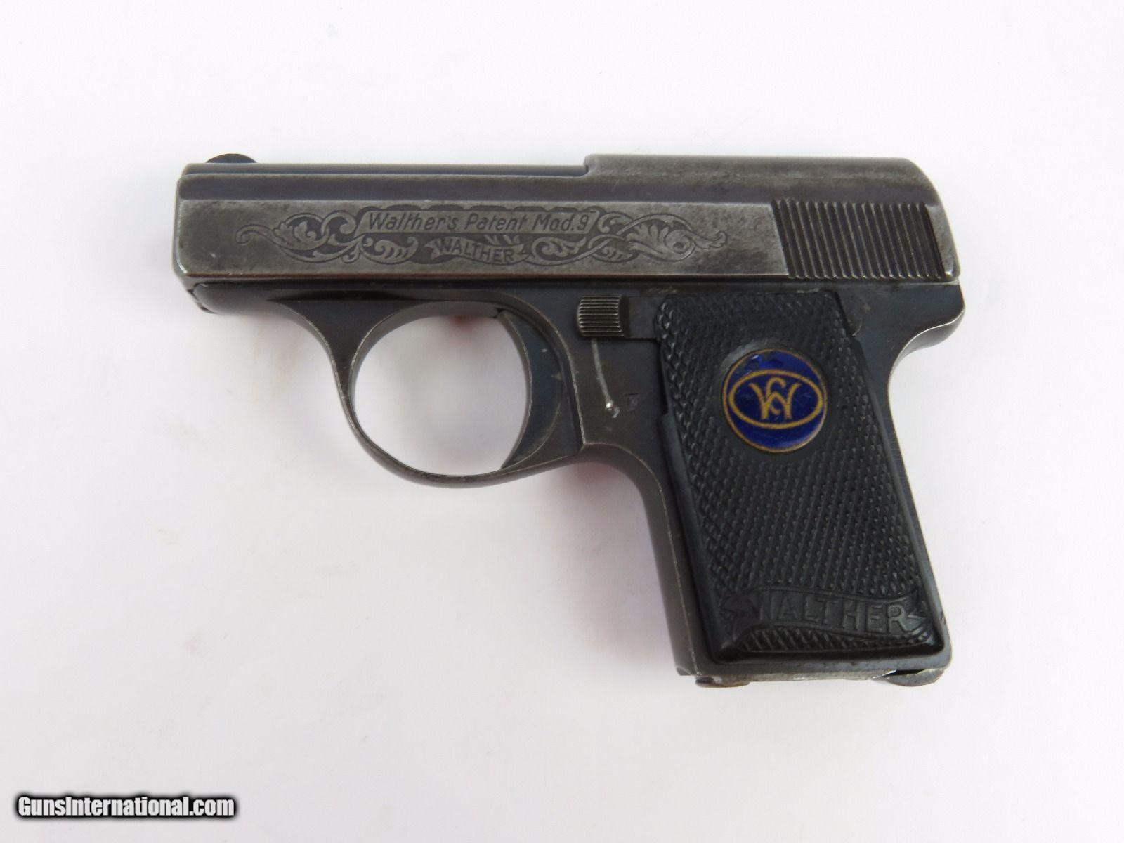 engraved walther model 9 pistol 6 35mm 25 caliber pre ww2 wwii