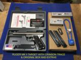 RUGER MK II TARGET with CRIMSON TRACE LASER and many extras
