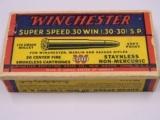 Winchester Super Speed 30 W.C.F. 30-30 S.P. 1935 Box