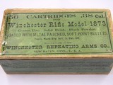 Winchester 38 Cal for Models 1873 Sealed Black Powder Box with Metal Patched S.P. Bullets