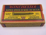 Winchester Super Speed 30 W.C.F. (30-30) S.P. 1945 Olin Box