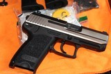 HK USP 45 COMPACT STAINLESS W/SAFTEY DE COCKER,,W/2 MAGAZINES 8 ROUNDS COMPLETE PACKAGE MINT LIKE NEW,,,,,,, ALL FACTORY,,,,,, - 3 of 10