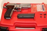 SIG SAUER P226 ELITE, 9MM MADE IN GERMANY W/FACTORY ROSEWOOD GRIPS, W/TWO SET OF SIGHTS ONE FACTORY MAGAZINE W/FACTORY RED BOX,,, MINT
