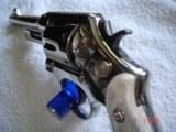 "S&W Model .38/44 Heavy Duty Model of 1950 Bright nickel 5""BBl.MFG 1955 5-screw Excellent in Custom Case with knife Etc. Elk Stag Stocks - 8 of 15"