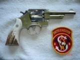 "S&W Model .38/44 Heavy Duty Model of 1950 Bright nickel 5""BBl.MFG 1955 5-screw Excellent in Custom Case with knife Etc. Elk Stag Stocks - 3 of 15"