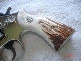 "S&W Model .38/44 Heavy Duty Model of 1950 Bright nickel 5""BBl.MFG 1955 5-screw Excellent in Custom Case with knife Etc. Elk Stag Stocks - 9 of 15"