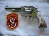 "S&W Model .38/44 Heavy Duty Model of 1950 Bright nickel 5""BBl.MFG 1955 5-screw Excellent in Custom Case with knife Etc. Elk Stag Stocks - 4 of 15"