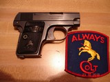 Colt 1908 Vest Pocket Semi-Auto.25 ACP MFG 1921 Excellent Over All, Blue with Case Colors Two tone Mag. Black Rubber Stocks - 1 of 13