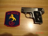 Colt 1908 Vest Pocket Semi-Auto.25 ACP MFG 1921 Excellent Over All, Blue with Case Colors Two tone Mag. Black Rubber Stocks - 2 of 13