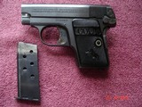 Colt 1908 Vest Pocket Semi-Auto.25 ACP MFG 1921 Excellent Over All, Blue with Case Colors Two tone Mag. Black Rubber Stocks - 7 of 13
