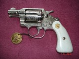 "Colt Det. Spec. 2""BBl. Bright Nickel Engraved By John Adams .38Spec. 2nd Issue MFG 1965 MINT, Elk Stag Stocks"
