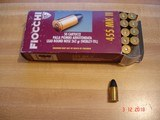Hard to Find .455 Eley (455 MK II) MFG by Fiocchi 262 Gr. Lead Round Nose Ctgs. Box of 50 center fire Ctgs.