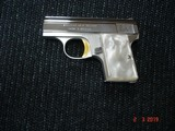 """Browning Baby Light weight .25 ACP, Pistol Mint Looks New Unfired? MFG 1968 Bright Nickel Faux. Pearl Stocks 2"""" BBl."""
