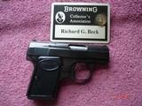 "Browning Baby .25 ACPSemi-Auto Pistol MFG 1965 Mint 2""BBl. Blue, Black Checkered Stocks."