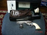 "USFA .22 Plinker Spec- order, Bright Nickel and Old Ivory Stocks. Dual- Cyl .22LR/.22 WMRF MIB 4 2/4""BBl."