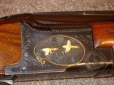 """Browning Superposed GD 1 Upgrade 1965 12Ga. 28"""" Game Scene Engraved with Gold Inlays by Bill Mains ExcellentRound Butt long tang - 8 of 20"""