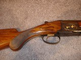 """Browning Superposed GD 1 Upgrade 1965 12Ga. 28"""" Game Scene Engraved with Gold Inlays by Bill Mains ExcellentRound Butt long tang - 12 of 20"""