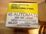 Carroll .45Auto 200Gr. Semi-Wad cutter Major Caliber Loads 50 Ctgs.