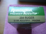 For Sale Hard to find204 RUGER Ctgs. Remington 32 Gr. Accutip-v Rifle Ctgs. 20 Round New Boxes