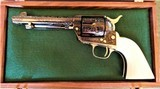 Cased Master Engraved Colt SAA 2nd Generation 1956 Ivory Grip .45 Single Action Army - 1 of 15