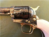 Cased Master Engraved Colt SAA 2nd Generation 1956 Ivory Grip .45 Single Action Army - 7 of 15