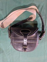 New Unused Cape Buffalo Leather Hinge Back English Made Cartridge Bag .410-28Ga