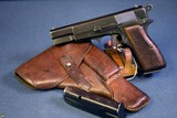 "NAZI FN HI POWER PISTOL…… EARLY ""a"" BLOCK FIXED SIGHT………STILL WITH MAG SAFETY….MINT FULL RIG!"