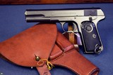 HUSQVARNA FN/BROWNING MODEL 1907 SWEDISH SERVICE PISTOL…..WITH HOLSTER….VERY SHARP!