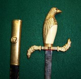 Eagle or Dove Head Dress Sword & Leather Scabbard Gold Plated