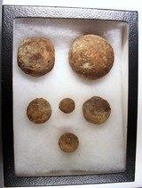 Dug Civil War Relics-Display Box of 6 Small Canon Ball & Grape Shot - 1 of 4