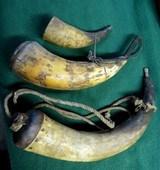 3 Antique Original Powder Horns Flask Black Powder Muzzle Loading