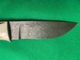 NOS CHARLTON LTD DUNN'S 01 OF 100 DAMASCUS BLADE HUNTING KNIFE & SHEATH - 3 of 12