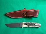 NOS CHARLTON LTD DUNN'S 01 OF 100 DAMASCUS BLADE HUNTING KNIFE & SHEATH - 7 of 12