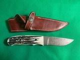 NOS CHARLTON LTD DUNN'S 01 OF 100 DAMASCUS BLADE HUNTING KNIFE & SHEATH - 2 of 12